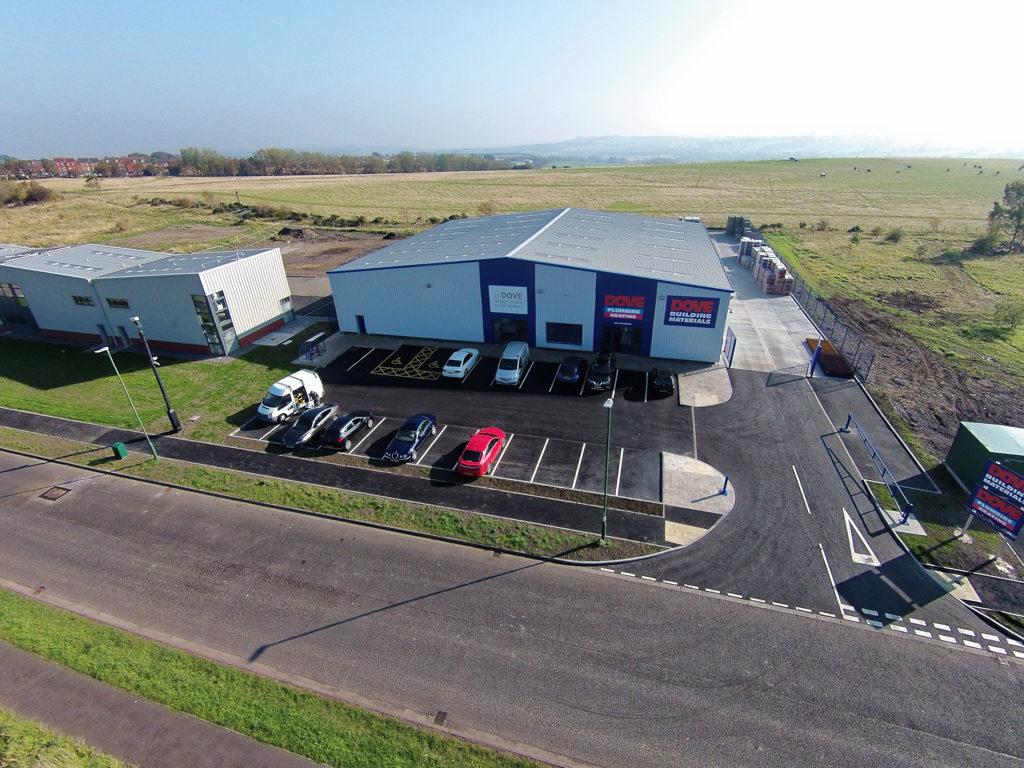 Aerial shots of new JT Dove depot at Hownsgill Industrial Park in Consett.