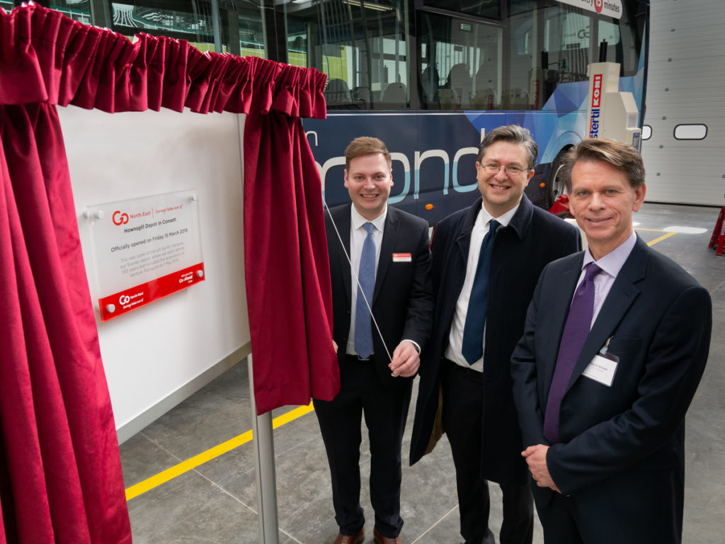 Go North East depot plaque is unveiled at Consett.